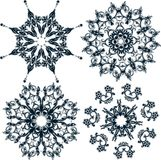 Floral snowflakes, set, element for design,  Stock Photography