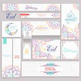 Floral social media post and header for Eid Mubarak. Stock Photo