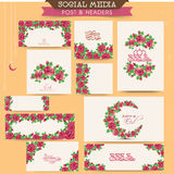 Floral social media post and header set for Eid celebration. Royalty Free Stock Photography