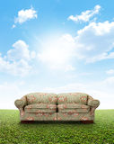 Floral Sofa On Lawn Royalty Free Stock Images