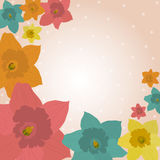 Jonquils background. Floral spring background with the daffodils Beautiful vintage card royalty free illustration