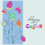 Floral spring composition with painted eggs on a light blue background. Happy Easter. For romantic and Easter design, announcements, greeting cards, posters Royalty Free Stock Photo