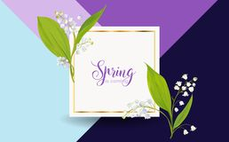 Floral Spring Design Template for Card, Sale Banner, Poster, Placard, Cover, T-shirt Print. Background with Lily Flowers. Vector illustration Stock Photography