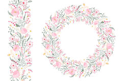 Floral spring elements with cute bunches of poppy and wild flowers. Endless pattern brush. For romantic wedding design Royalty Free Stock Photos