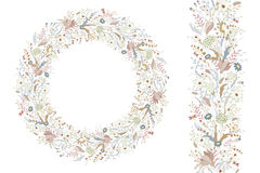 Floral spring elements with cute bunches of poppy and wild flowers. Endless pattern brush. For romantic wedding design Royalty Free Stock Image