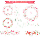 Floral spring elements with cute bunches of tulips and roses. Endless horizontal pattern brushes. Royalty Free Stock Photos