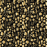 Floral spring gold seamless pattern Royalty Free Stock Photos