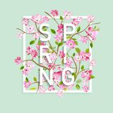 Floral Spring Graphic Design with Cherry Blossom Flowers for T-shirt, Fashion Prints Royalty Free Stock Photos