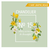 Floral Spring Graphic Design - with Narcissus Flowers Royalty Free Stock Image