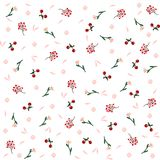 Floral Spring Pattern with Fruits and Flower Petals stock illustration