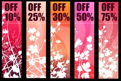 Floral spring red banners Stock Photography