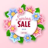 Floral spring sale banner. With beautiful flowers for online shopping. Vector Illustration Stock Images