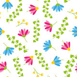 Floral spring seamless pattern with white background blooms and berries. Floral spring seamless pattern blooms and berries Stock Photo