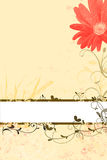 Floral spring and summer background with red blossom and grungy ornaments Stock Photo