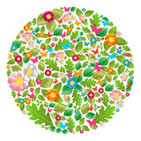 Floral spring and summer circle vector illustration