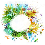 Floral spring and summer design, watercolor painting Stock Image