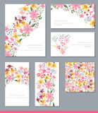 Floral spring templates with cute bunches of flowers. Stock Photos