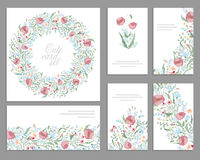 Floral spring templates with cute bunches of pink poppies. For romantic and easter design, announcements, Royalty Free Stock Images