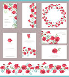 Floral spring templates with cute bunches of red roses. Endless horizontal pattern brush. Stock Photos