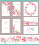 Floral spring templates with cute bunches of red tulips. Stock Photo