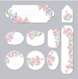 Floral spring templates with cute flowers . For romantic and easter design, announcements, greeting cards, posters. Elegant cards with decorative multi colored Royalty Free Stock Photos
