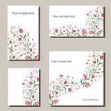 Floral spring templates with flowers. For romantic and easter spring design, announcements, greeting cards, posters vector illustration