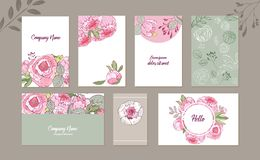 Floral spring templates vector banners. peonies. For romantic design, banner, announcements, greeting cards, posters vector illustration