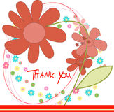 Floral spring vector Thank you doodle flower card Stock Image