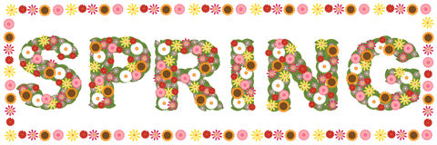 Floral spring word Stock Photo