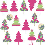Floral spruse tree  seamless pattern. It is located in swatch me. Nu, vector  illustration. Colorful image Royalty Free Stock Photography