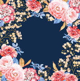 Floral square background frame on dark blue. Invitation template. Floral square background frame on dark blue royalty free illustration