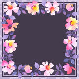 Floral square background template with roses Royalty Free Stock Photography