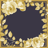 Floral square background template with roses in gold. On dark Royalty Free Stock Photos