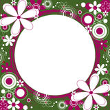 Floral Square Frame in Green and Magenta. Square frame with a collage of flowers and circles around a grunge circle Stock Photography