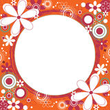 Floral Square Frame in Orange. Square frame with a collage of flowers and circles around a grunge circle Stock Images