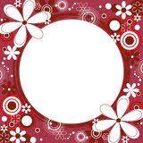 Floral Square Frame in Red. Square frame with a collage of flowers and circles around a grunge circle Royalty Free Stock Image