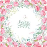 Floral square greeting card with stylized herbs and pink tulips. Stock Images