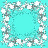 Floral square ornament border with hand drawn flowers daffodils stock photos