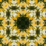 Floral square spring pattern in yellow and dark green in kaleidoscope Stock Photography