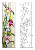 Floral stained-glass pattern. Floral pattern for stained-glass window with blooming irises Royalty Free Stock Photos
