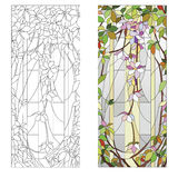 Floral stained-glass pattern. Stained glass window with purple floral pattern Stock Image