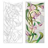 Floral stained-glass pattern. Stained glass window with purple floral pattern Royalty Free Stock Photography