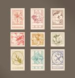 Floral stamp.Objects Stock Images