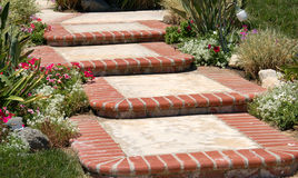 Floral Steps. Brick Steps, with flowers Stock Photo