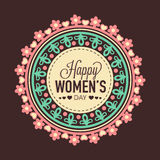 Floral sticker or label for International Women's Day. Stock Photo