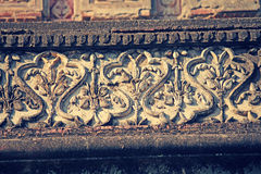 Floral Stone carving at Sangameshwar Temple Stock Photos