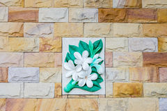 Floral stone wall.  Stock Image