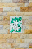 Floral stone wall Stock Photography