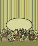 Floral striped background. Green oval frame on a striped background with flowers Royalty Free Stock Image