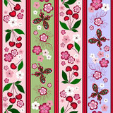 Floral striped effortless pattern. With cherry berries and butterflies Stock Images